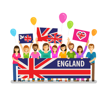 crowd happy people: England. Happy crowd people with placards at the city festival. Vector illustration