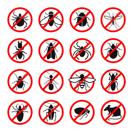 Pest control. Harmful insects, rodents set icons. Vector illustration