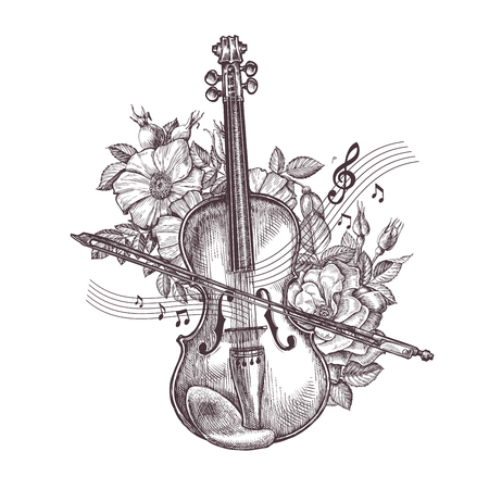 Vintage fiddle. Hand drawn retro the violin and flowers. Vector illustration