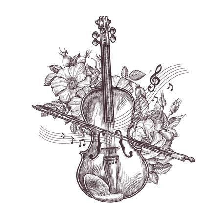 Vintage-Geige. Hand gezeichnet Retro Geige und Blumen. Vektor-Illustration