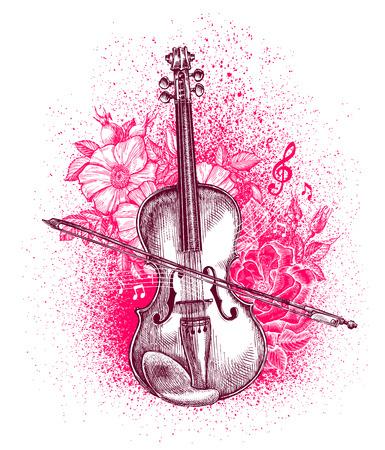 手描きの古典的なバイオリンと弓。楽器。ベクトル図
