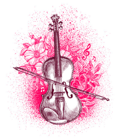 handdrawn: Hand-drawn classical violin and bow. Musical instrument. Vector illustration