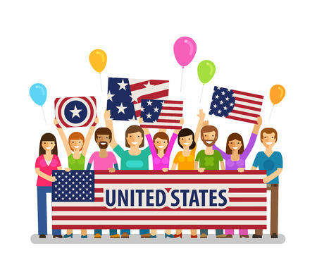 crowd happy people: USA, United States. Happy crowd people with placards at the city festival. Vector illustration Illustration