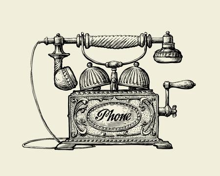 Vintage telephone. Hand drawn sketch retro phone. Vector illustration