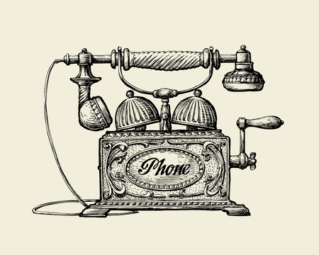 telephone line: Vintage telephone. Hand drawn sketch retro phone. Vector illustration