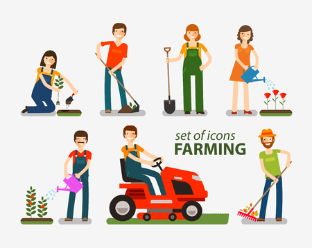 Farming, ensemble d'icônes de jardinage. Les gens au travail à la ferme. Vector illustration Vecteurs