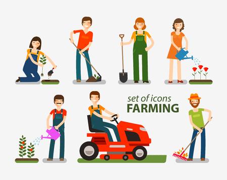La agricultura, la jardinería conjunto de iconos. La gente en el trabajo en la granja. ilustración vectorial Ilustración de vector