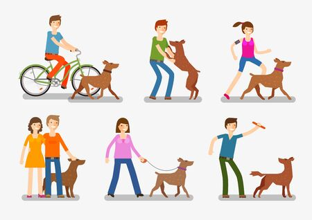 Dogs, people icons set. Pets animals vector illustration Stock Photo