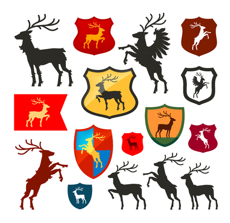knightly: Shield with deer, reindeer, stag vector. Coat of arms, heraldry set icon