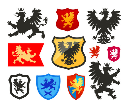 Shield with griffin, gryphon, eagle vector logo. Coat of arms, heraldry set icon Illustration