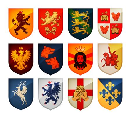 Königlichem Wappen auf Schild Vektor. Heraldik, blazonry Set Icon Vektorgrafik