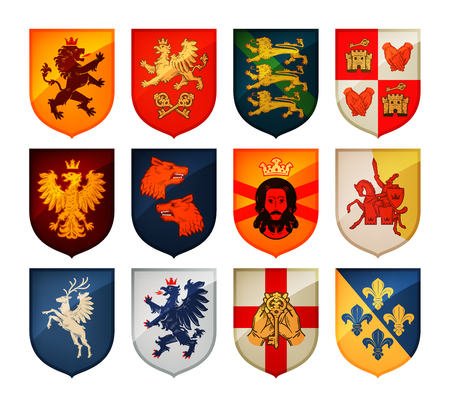 Royal coat of arms on shield vector. Heraldry, blazonry set icon Stock Illustratie