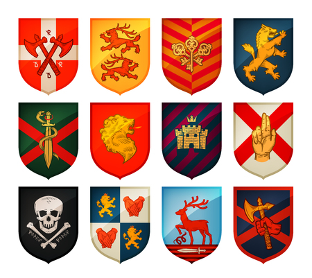 faction: Collection of medieval shields and coat of arms. Kingdom, empire, castle vector symbol