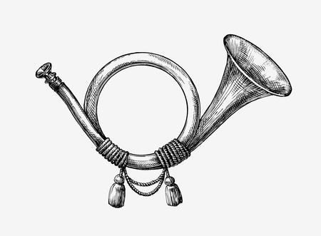 Ręcznie rysowane rocznika róg myśliwski. Szkic trąbka pocztowa. ilustracji wektorowych
