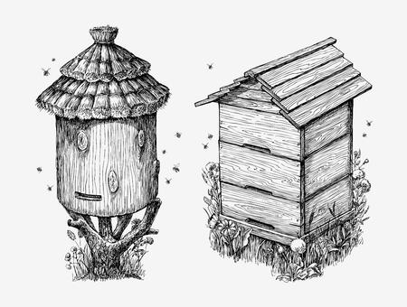 木製のじんましん。手描きスケッチ養蜂、蜂蜜、蜂のベクトル図