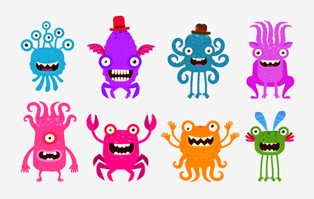 contagion: Set cheerful and terrible monsters, ghosts, aliens. Vector illustration