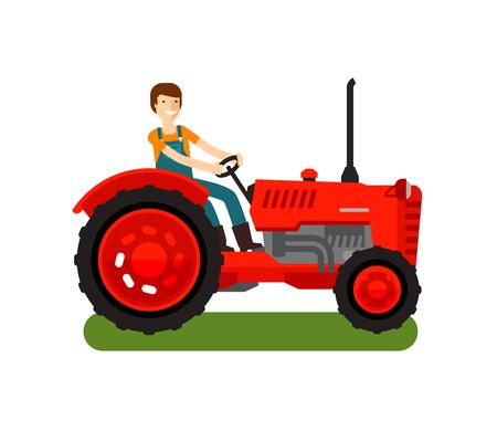 Retro farm tractor icon. Cartoon vector illustration. flat design