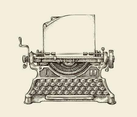手繪復古打字機。素描發布。矢量插圖