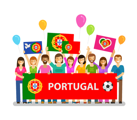 jubilation: Soccer, championship, sport icon. Fans of Portugal on the podium. Vector illustration