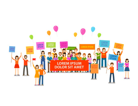 Holiday, demonstration, rally. Crowd of people with placards Vector illustration