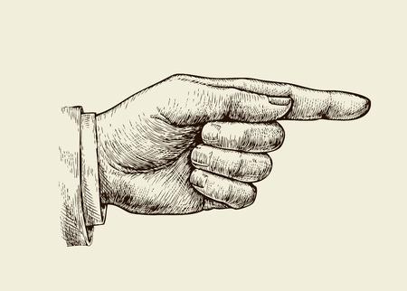 빈티지 손을 손으로 그린. 레트로 스케치 검지 손가락. 벡터 일러스트 레이 션
