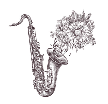 melodious: Jazz music. Hand drawn sketch a saxophone, sax and flowers. Vector illustration