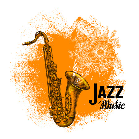 Jazz music. Classical saxophone with notes. Vector illustration