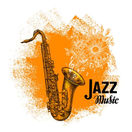 soprano saxophone: Musica Jazz. saxofón clásico con notas. ilustración vectorial