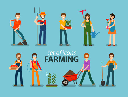 raking: Farming, gardening icon set. People at work on the farm. Vector illustration