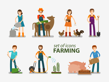 guadaña: La agricultura, la ganadería conjunto de iconos. La gente en el trabajo en la granja. ilustración vectorial