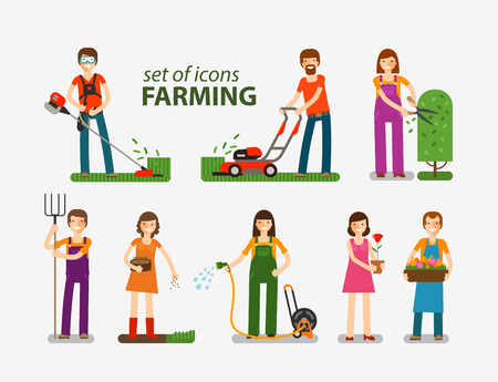 sward: Farming, gardening, horticulture set of icons. People at work on the farm. Vector illustration