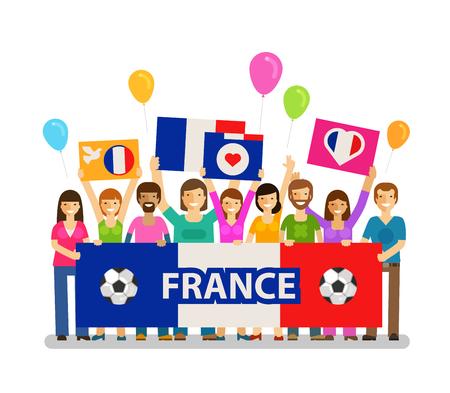 paraphernalia: Soccer, championship, sport icon. Fans of France on the podium. Vector illustration Illustration