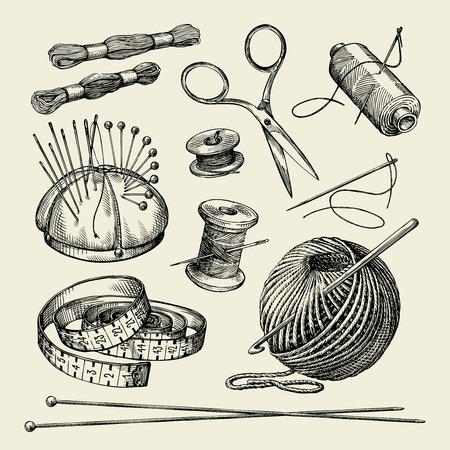 nociones de costura. hilo, aguja, tijeras, hilo, agujas de tejer crochet Ilustración del vector dibujado a mano