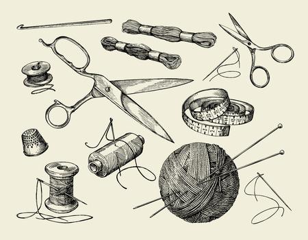 Nähen Vorstellungen. Handgezeichnete Faden, Nadel, Schere, Wollknäuel, Stricknadeln, Häkeln Vektor-Illustration