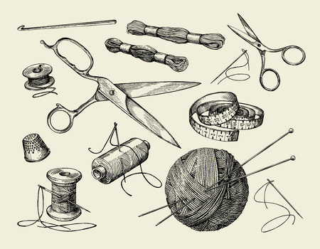 Sewing notions. Hand-drawn thread, needle, scissors, ball of yarn, knitting needles, crochet Vector illustration