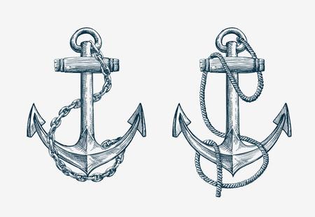 Vector disegnati a mano di ancoraggio nautico. Vintage nave elemento dello schizzo, viaggi Vettoriali