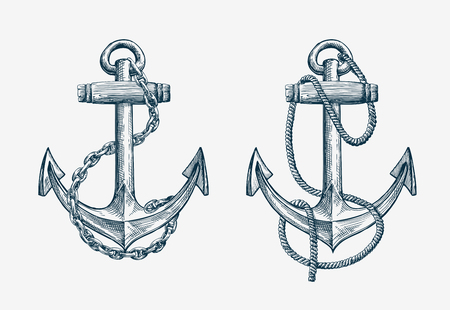 anchor drawing: Vector hand-drawn nautical anchor. Vintage sketch element ship, travel