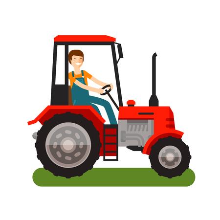 Ikona ciągnika rolniczego. Ilustracji wektorowych kreskówek. Płaski wygląd