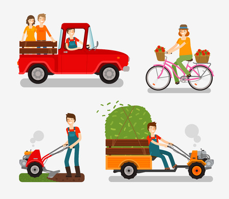 cultivator: Farm icons set. Cartoon character such as farmer, truck, bike, tillers, motor cultivator. Vector illustration