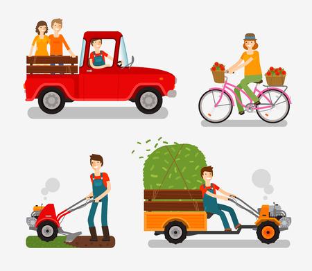 Farm icons set. Cartoon character such as farmer, truck, bike, tillers, motor cultivator. Vector illustration