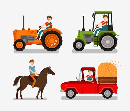 Iconos de granja. símbolo de dibujos animados tales como tractores, camiones, caballo, granjero. ilustración vectorial Ilustración de vector