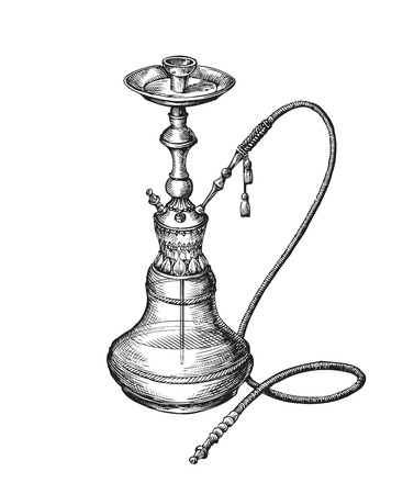 Hand drawn vintage hookah. Vector sketch shisha Vectores