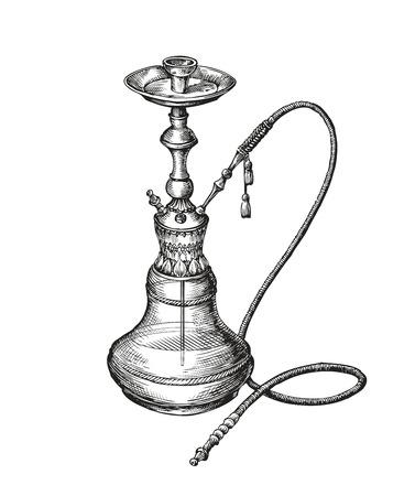 Hand drawn vintage hookah. Vector sketch shisha Stock Illustratie