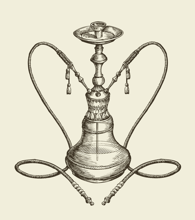 exhale: vintage sketch hookah, tobacco smoking. vector illustration