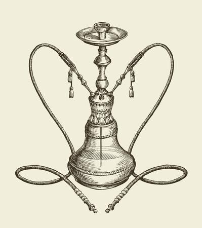 shisha: vintage sketch hookah, tobacco smoking. vector illustration