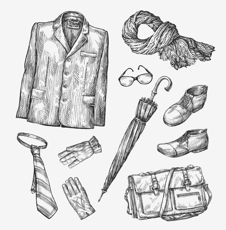 vintage fashion: Fashion. Vector collection of men clothing. Hand drawn sketch umbrella, tie, shoes, glasses, gloves, bag scarf jacket