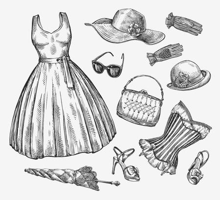Fashion. Vector collection of women clothing. Hand drawn sketch umbrella, dress, sunglasses, corset, handbag, hat gloves shoes