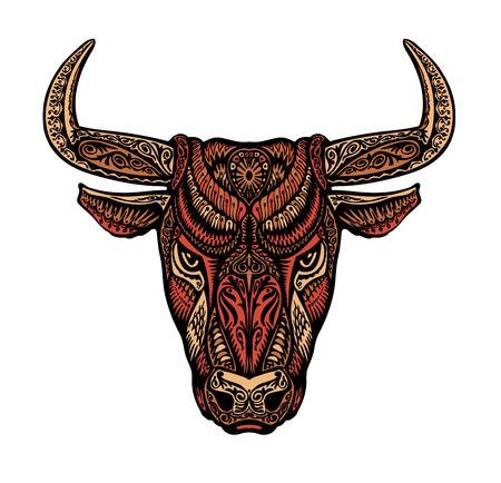 ornamented: Ethnic ornamented bull or minotaur, taurus. Vector illustration