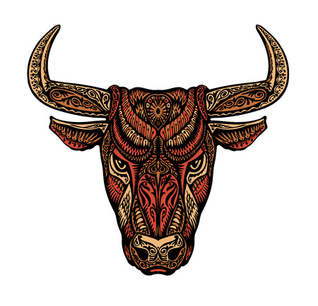 Ethnic ornamented bull or minotaur, taurus. Vector illustration