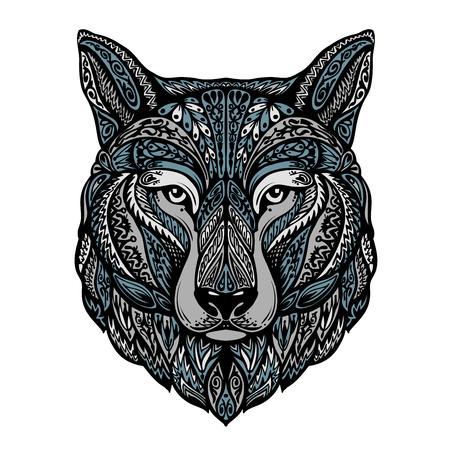 Étnico adornado lobo, perro, hombre lobo ilustración vectorial Ilustración de vector